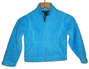 LL.Bean Girls Fuzzy Fleece Zip Up Jacket Sz 4 (Sm)
